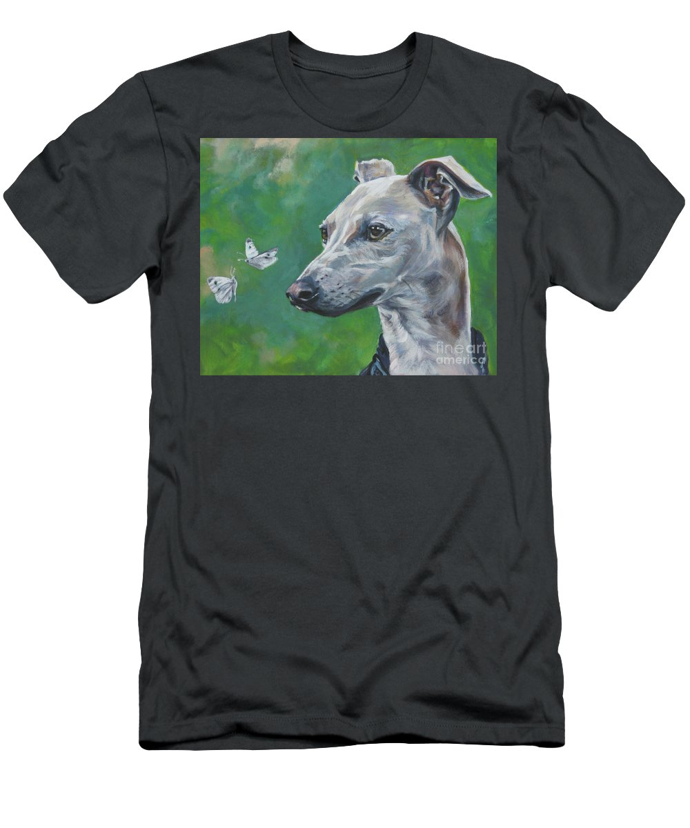 Italian Greyhound Men's T-Shirt (Athletic Fit) featuring the painting Italian Greyhound With Cabbage White Butterflies by Lee Ann Shepard
