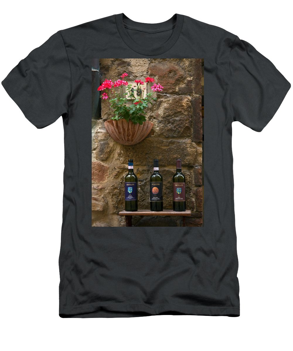 3 Bottles Men's T-Shirt (Athletic Fit) featuring the photograph Italian Wine And Flowers by Sally Weigand
