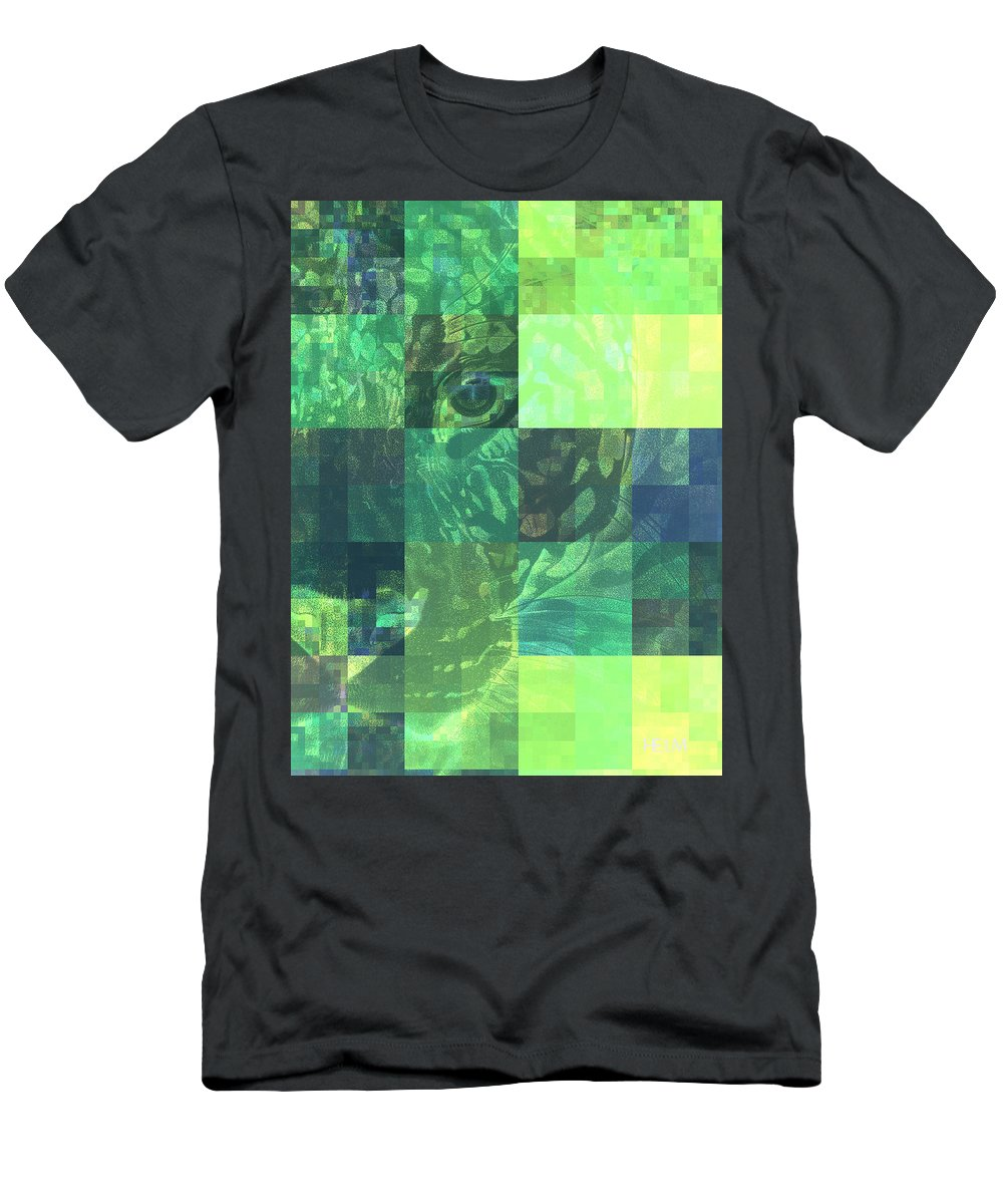 Leopard Paintings Men's T-Shirt (Athletic Fit) featuring the photograph Jaguar Graph Geo Green by Mayhem Mediums