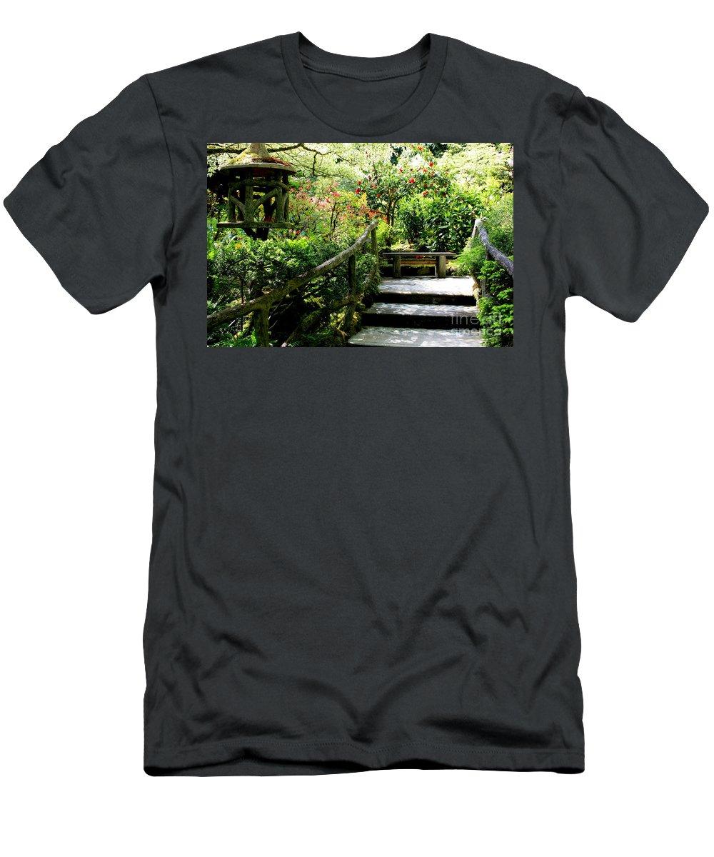 Japanese Garden Men's T-Shirt (Athletic Fit) featuring the photograph Japanese Garden Retreat by Carol Groenen