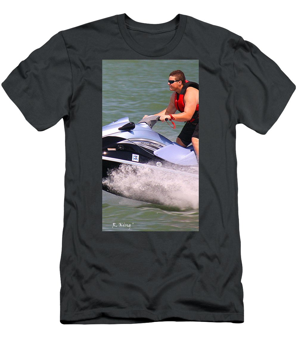 Roena King Men's T-Shirt (Athletic Fit) featuring the photograph Jet Ski Speed by Roena King