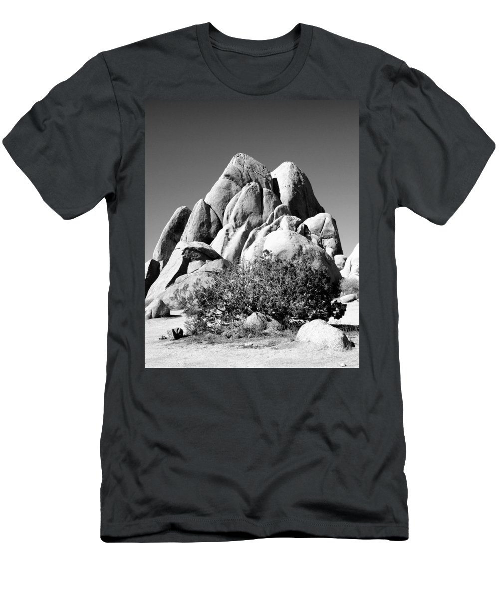 Joshua Tree Men's T-Shirt (Athletic Fit) featuring the photograph Joshua Tree Center Bw by William Dey