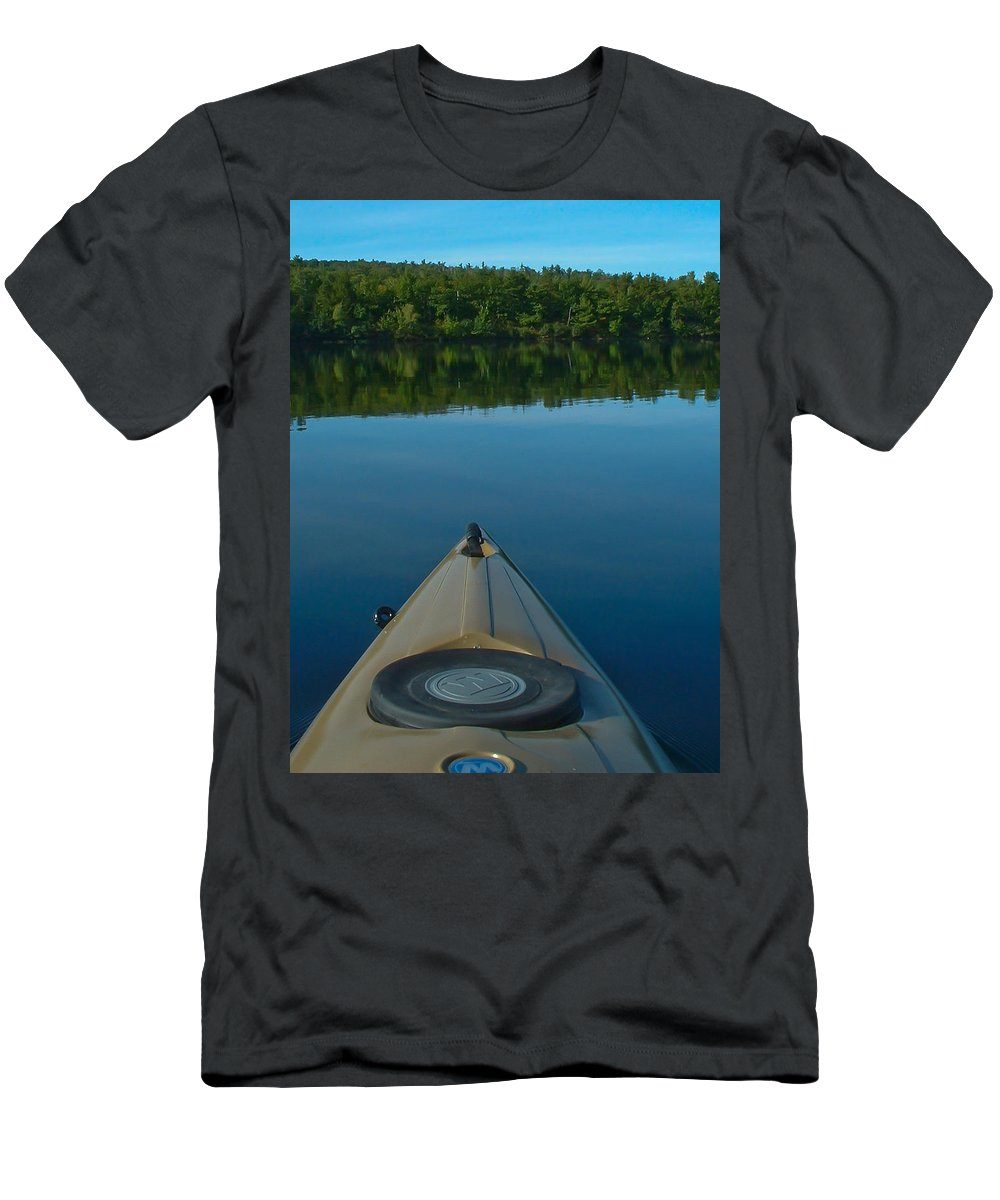 Lakes Men's T-Shirt (Athletic Fit) featuring the photograph Kayaking Range Ponds 0003 by Guy Whiteley