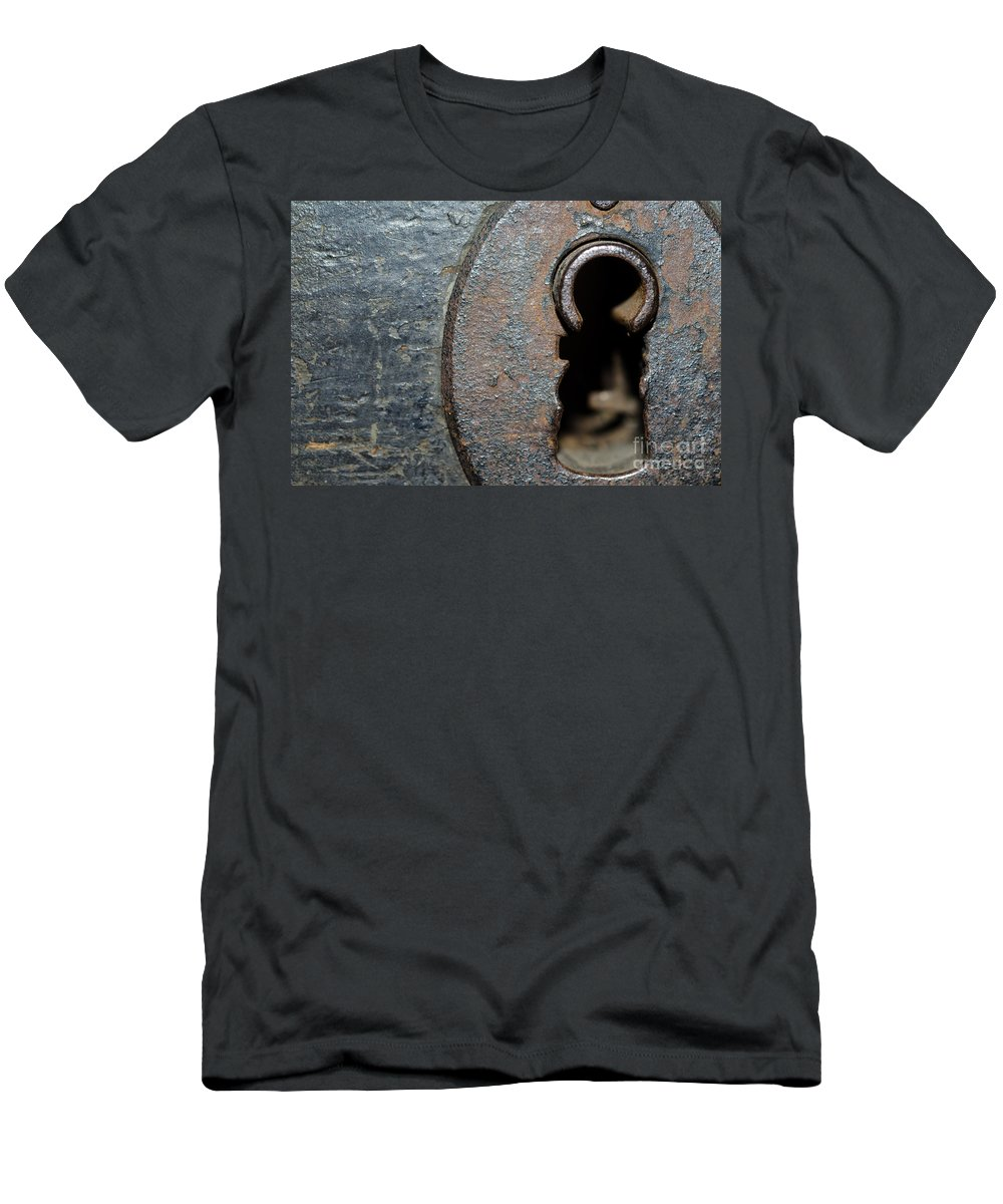 Door Men's T-Shirt (Athletic Fit) featuring the photograph Keyhole by Mats Silvan