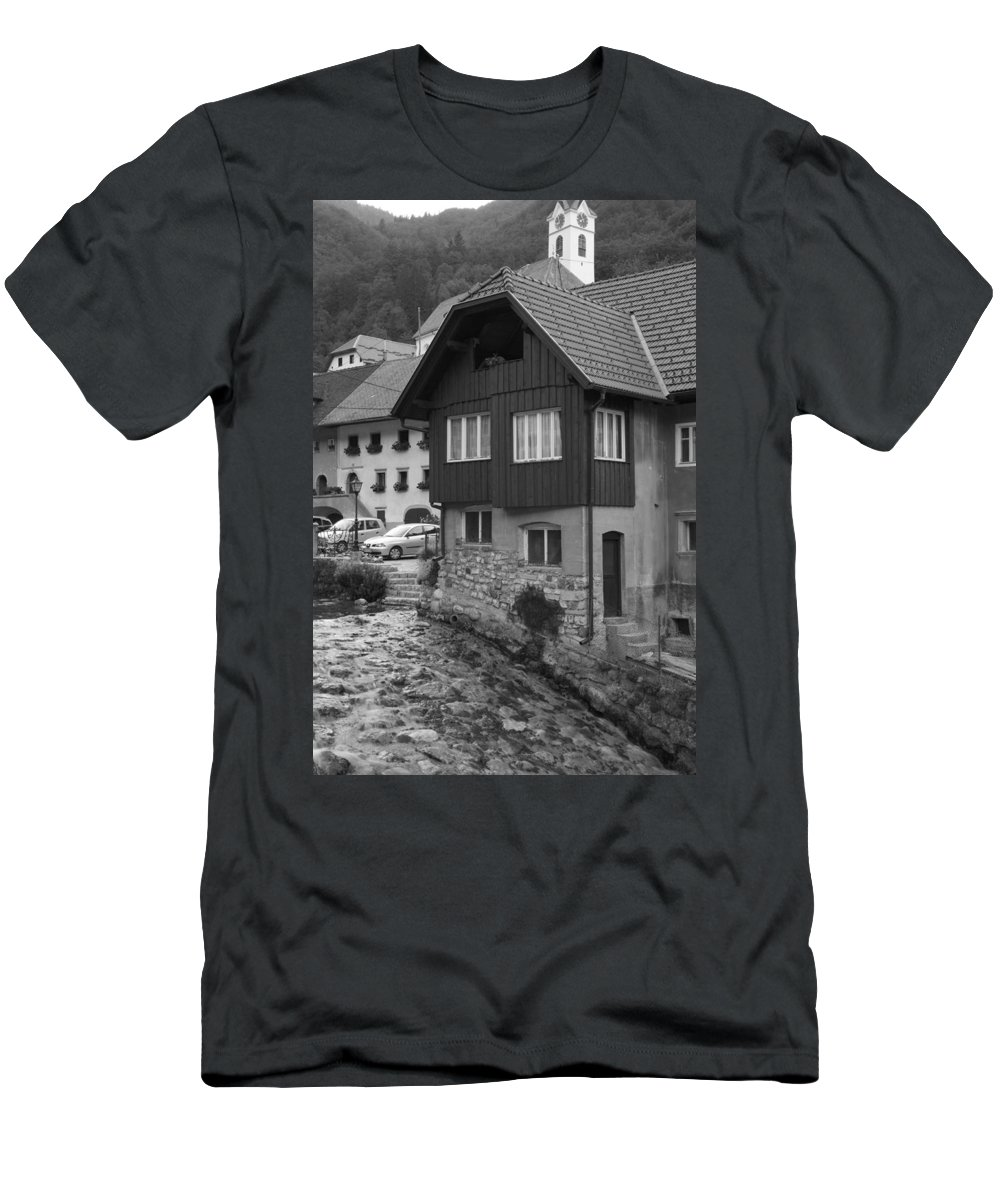 Kropa Men's T-Shirt (Athletic Fit) featuring the photograph Kropa In Black And White by Ian Middleton