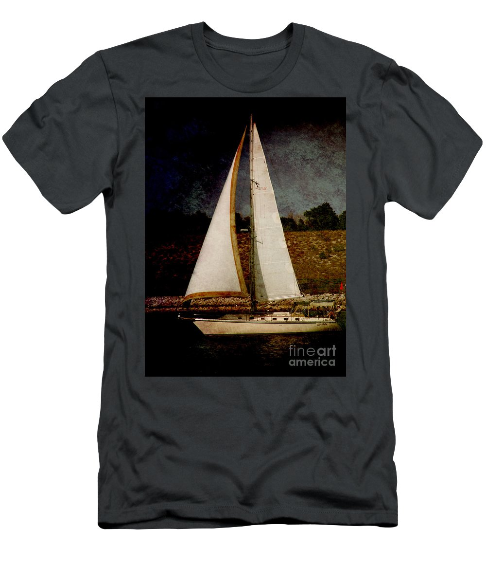 Boat Men's T-Shirt (Athletic Fit) featuring the photograph La Paloma Blanca Boat by Susanne Van Hulst