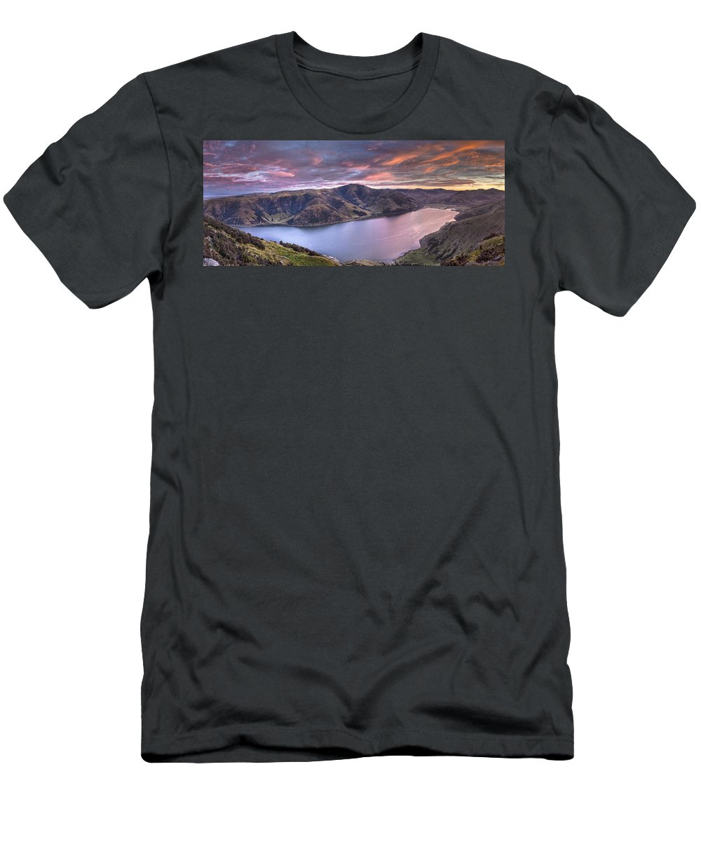 00441964 T-Shirt featuring the photograph Lake Forsyth At Dawn Canterbury New by Colin Monteath