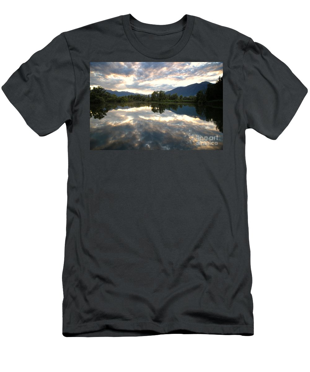 Lake Men's T-Shirt (Athletic Fit) featuring the photograph Lake With Clouds by Mats Silvan