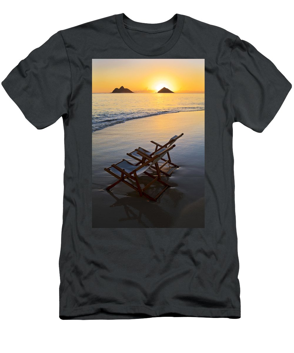 Alone Men's T-Shirt (Athletic Fit) featuring the photograph Lanikai Chairs At Sunrise by Tomas del Amo