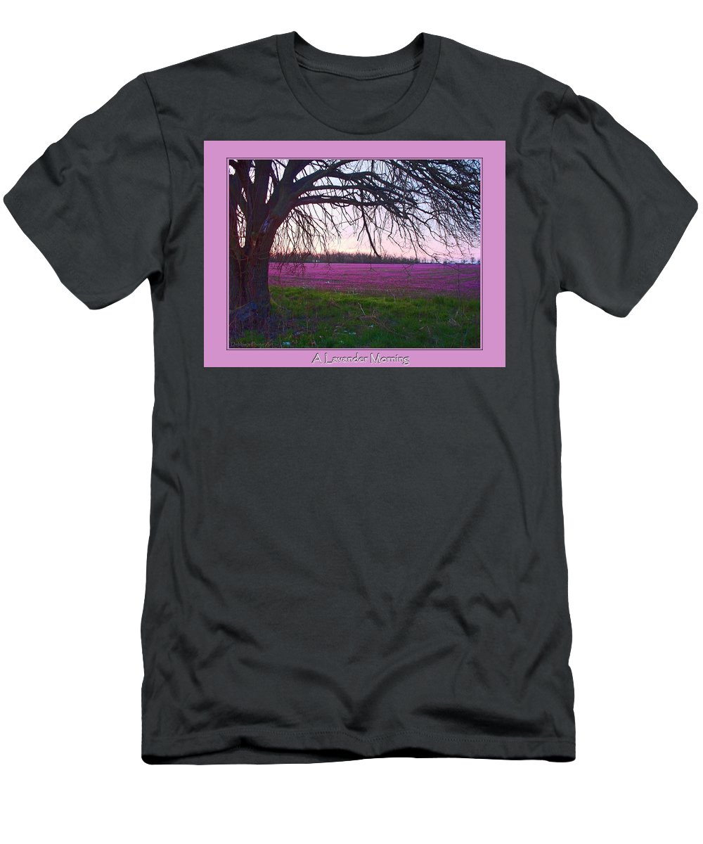Nature Men's T-Shirt (Athletic Fit) featuring the photograph Lavander Morning by Debbie Portwood