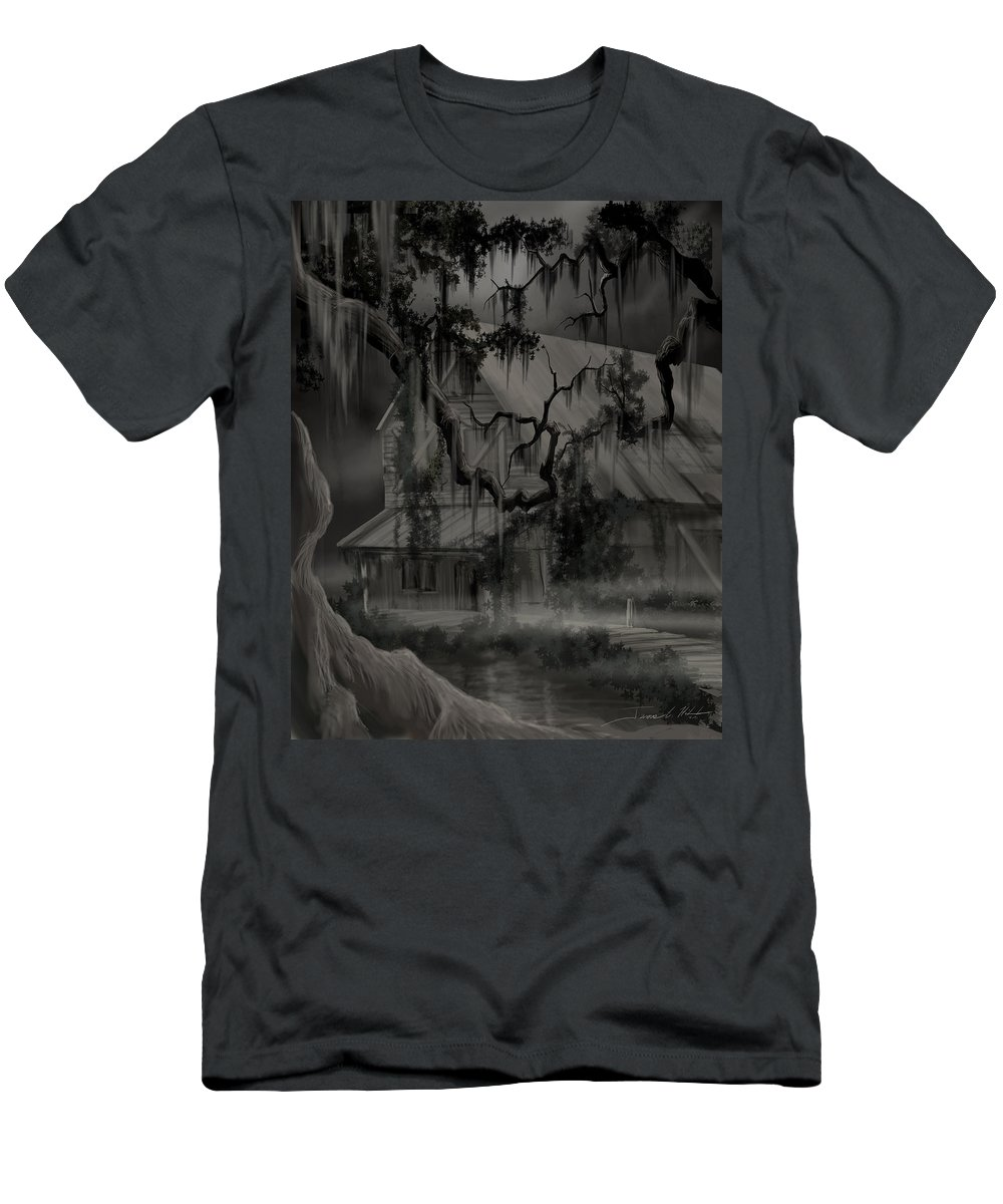 Old Woman T-Shirt featuring the painting Legend of the Old House in the Swamp by James Christopher Hill