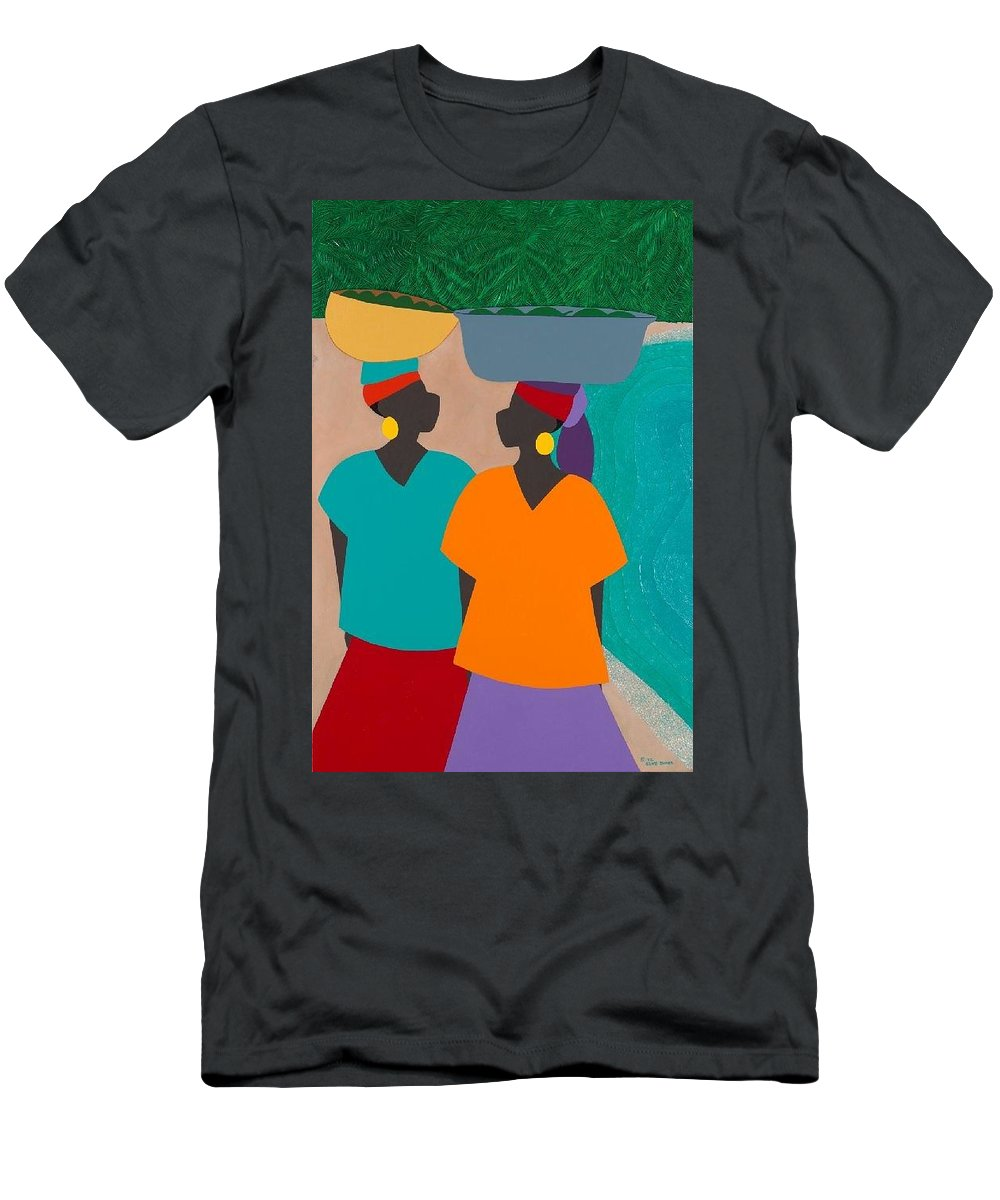 Haiti Men's T-Shirt (Athletic Fit) featuring the painting Les Femmes by Synthia SAINT JAMES