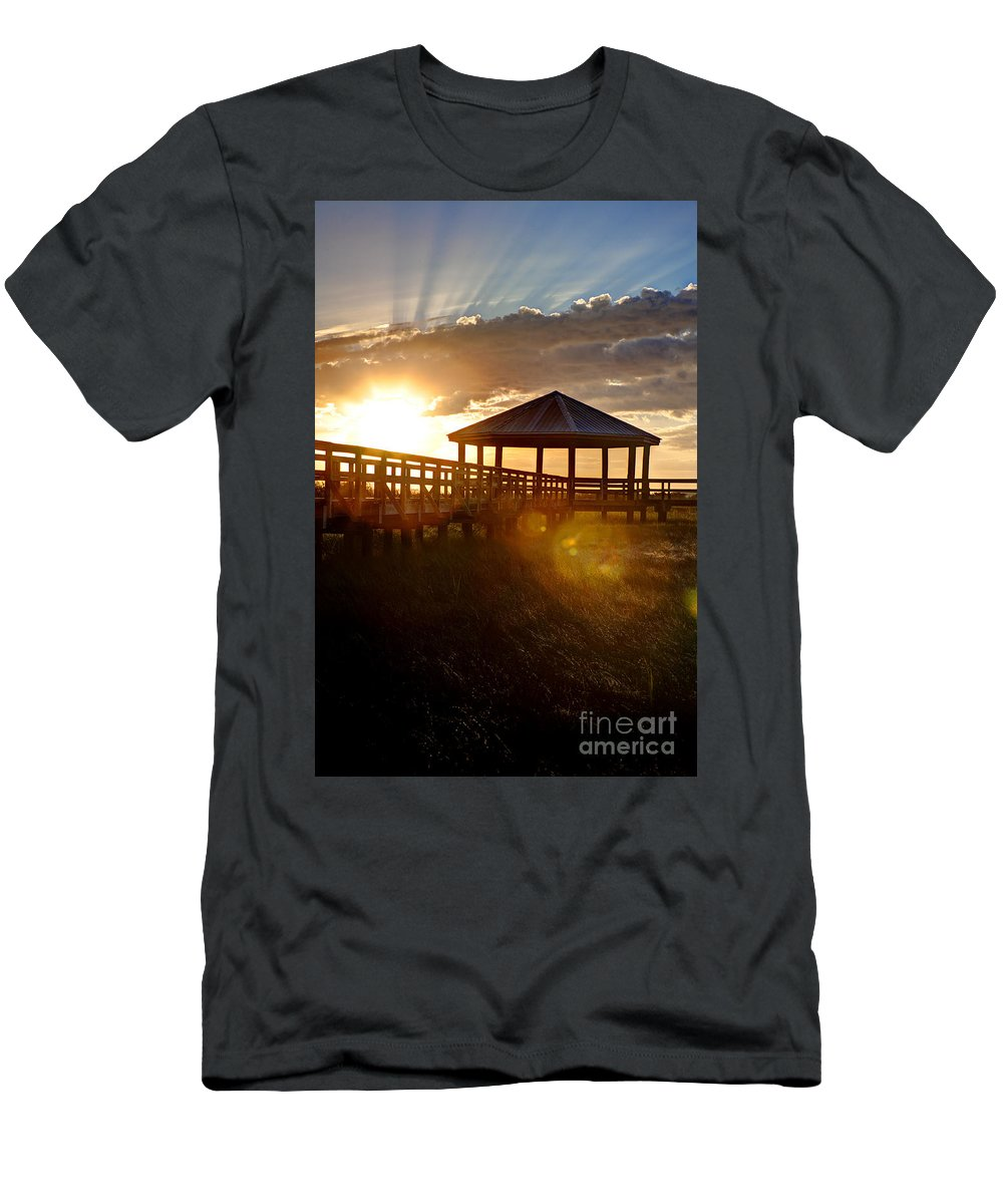 Sunrise Men's T-Shirt (Athletic Fit) featuring the photograph Light Of Life by Joan McCool