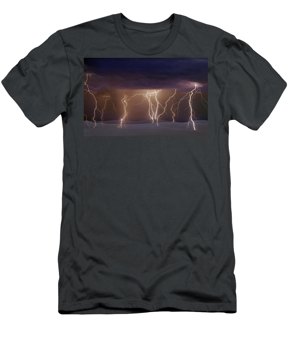 Lightning Men's T-Shirt (Athletic Fit) featuring the photograph Lightning Dance by Jack Daulton