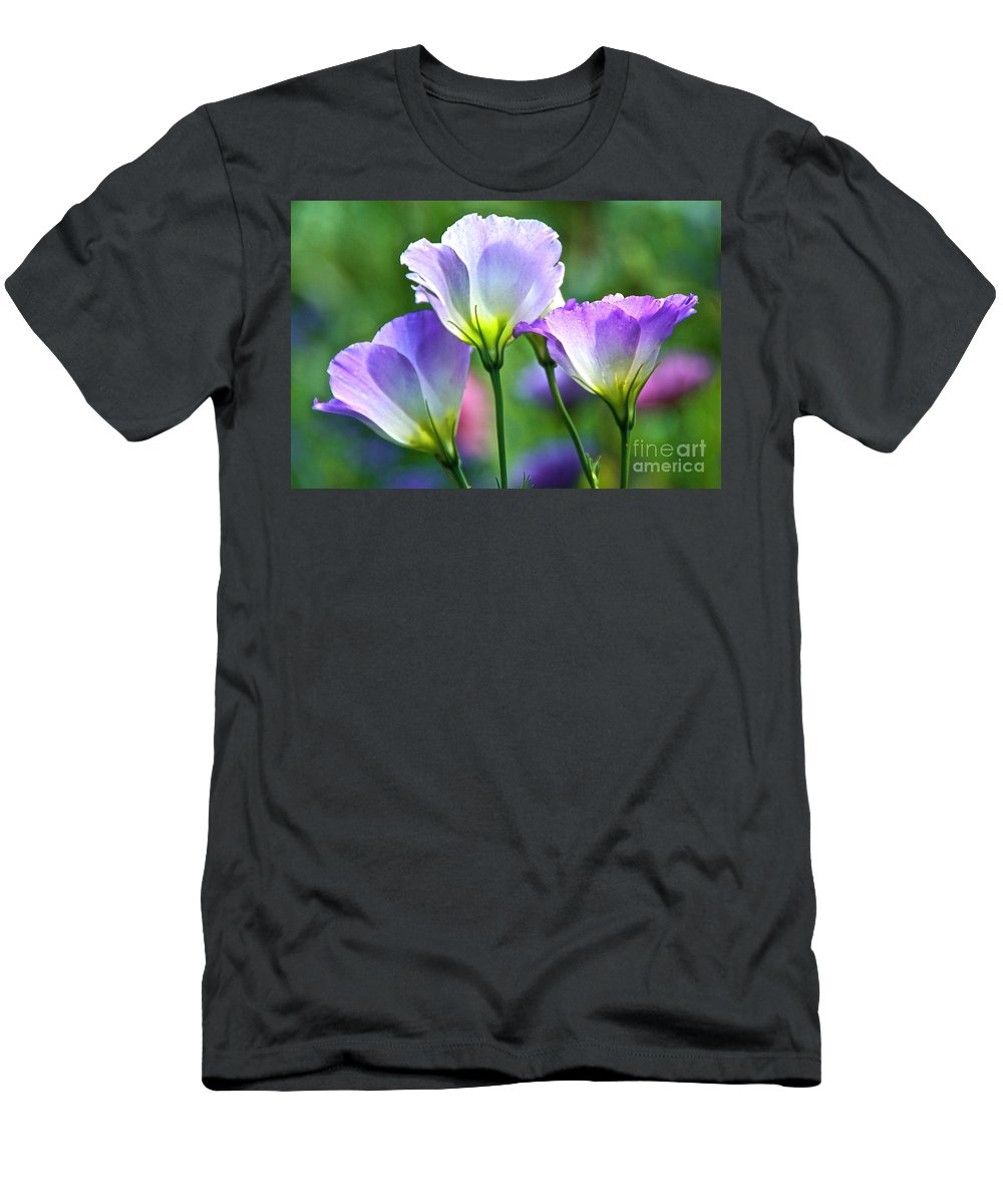 Lisianthus Men's T-Shirt (Athletic Fit) featuring the photograph Lisianthus Number 6 by Byron Varvarigos