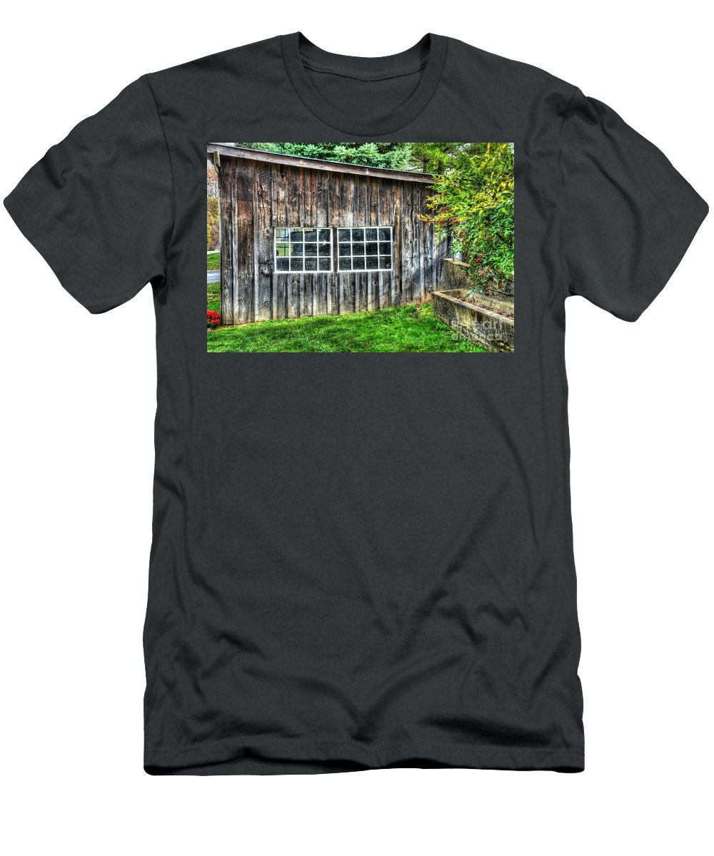 Shed Men's T-Shirt (Athletic Fit) featuring the photograph Little Brown Shed by Debbi Granruth