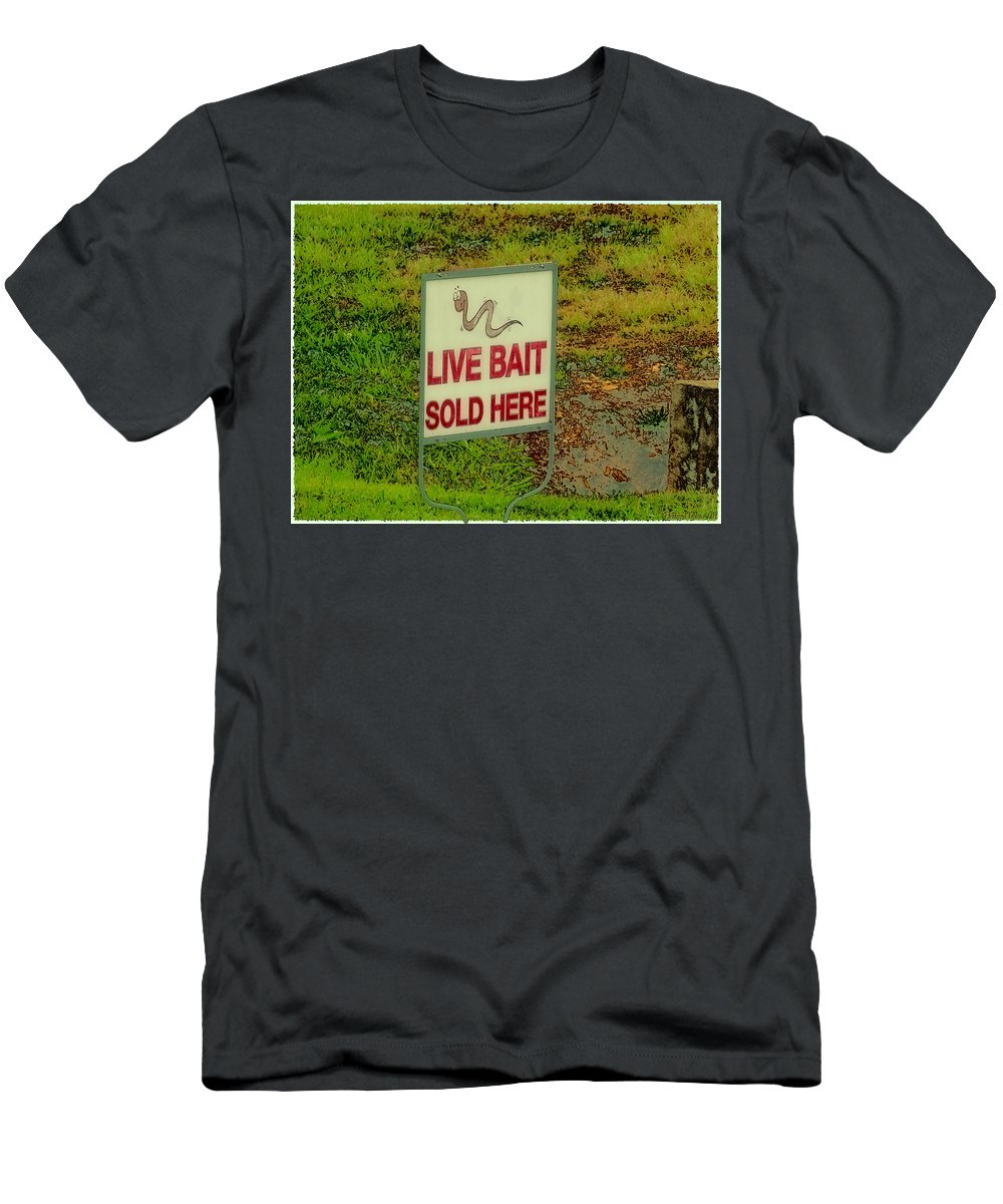 Sign Men's T-Shirt (Athletic Fit) featuring the photograph Live Bait Sign by Debbie Portwood
