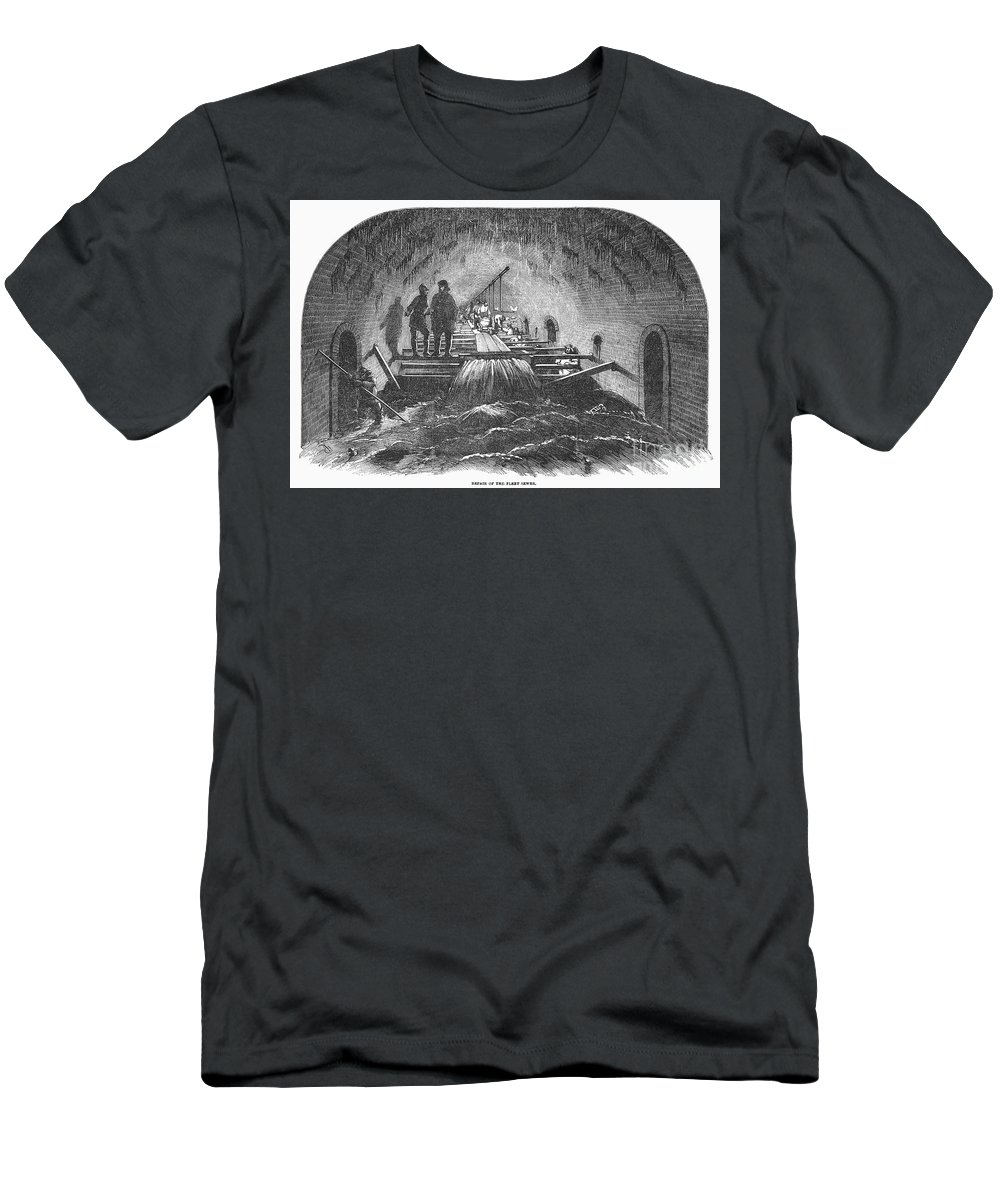 1854 Men's T-Shirt (Athletic Fit) featuring the photograph London: Fleet Street Sewer by Granger