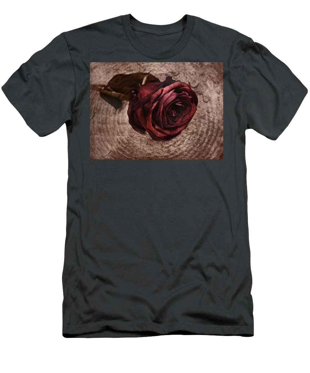 Rose Men's T-Shirt (Athletic Fit) featuring the photograph Loveletter by Claudia Moeckel