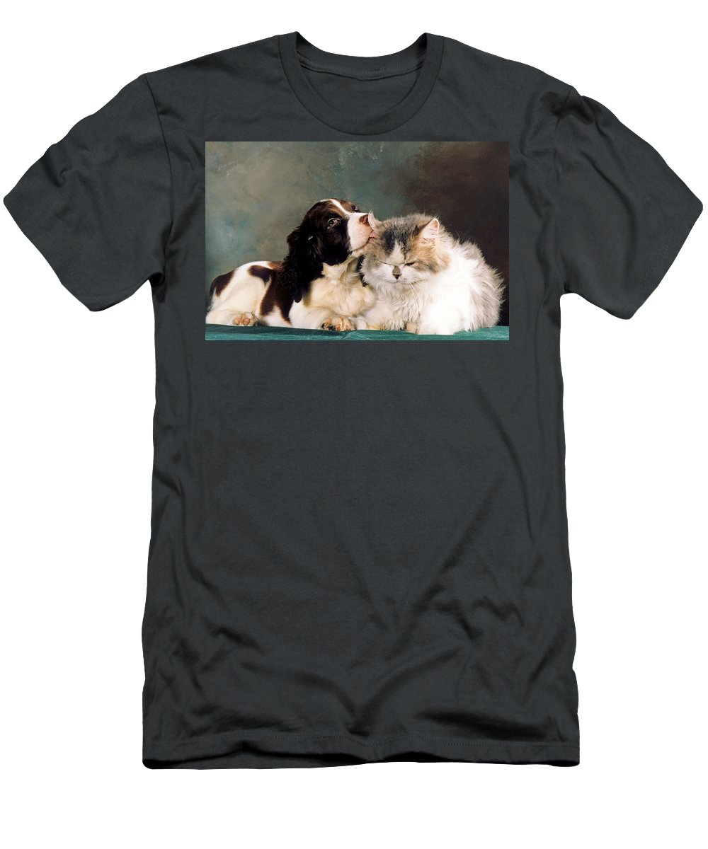 Springer Spaniel Men's T-Shirt (Athletic Fit) featuring the photograph Loving Kiss by Larry Allan