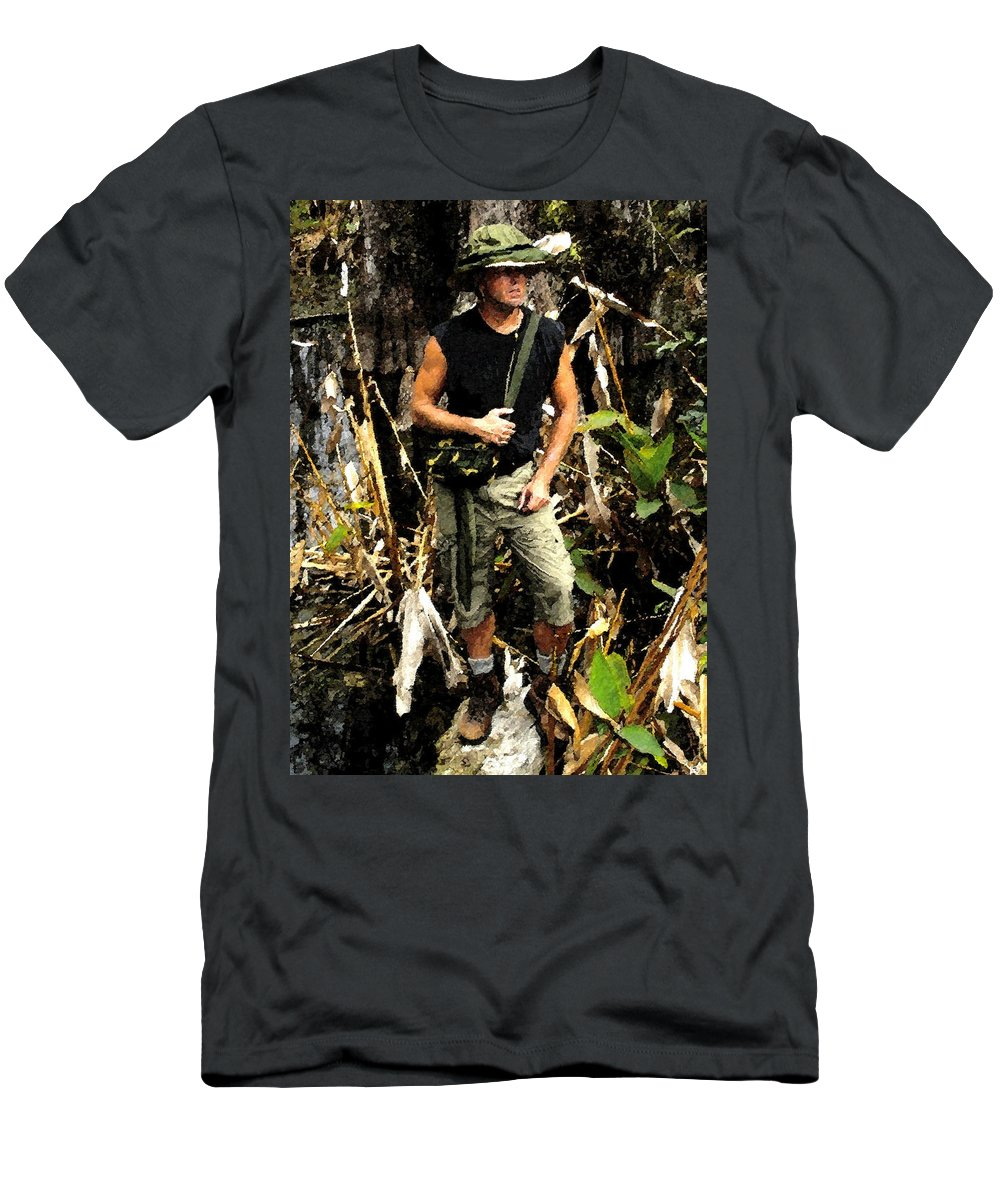 Art Men's T-Shirt (Athletic Fit) featuring the painting Man In The Wilderness by David Lee Thompson