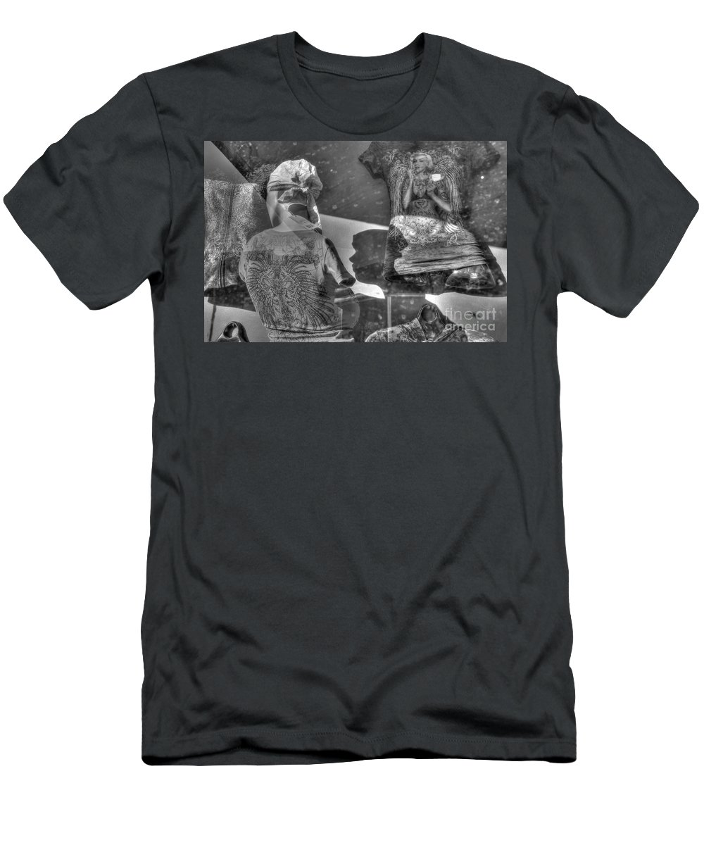Reflections Men's T-Shirt (Athletic Fit) featuring the photograph Marilyn's Shadow At Night by Anthony Wilkening