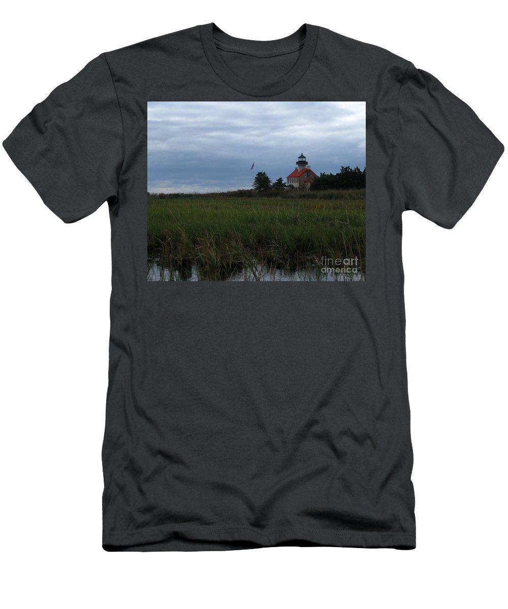 East Point Lighthouse Men's T-Shirt (Athletic Fit) featuring the photograph Marking The Mouth Of The River by Nancy Patterson