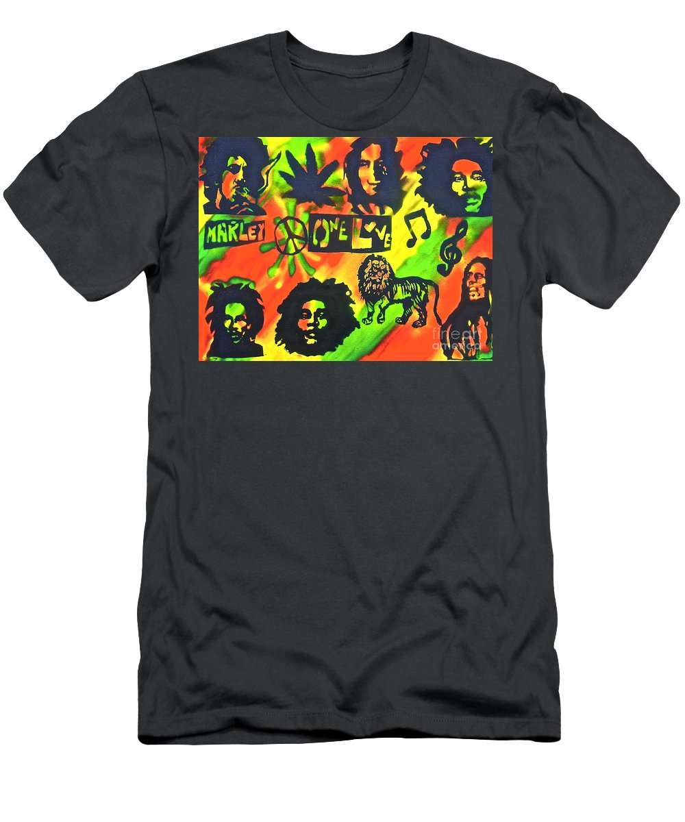 Hip Hop Men's T-Shirt (Athletic Fit) featuring the painting Marley Forever by Tony B Conscious