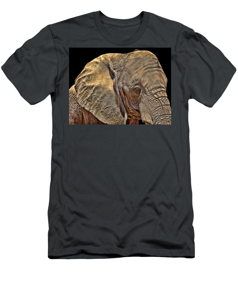 Elephant Photographs Men's T-Shirt (Athletic Fit) featuring the photograph Mighty Morphin' Power Elephant by Lourry Legarde