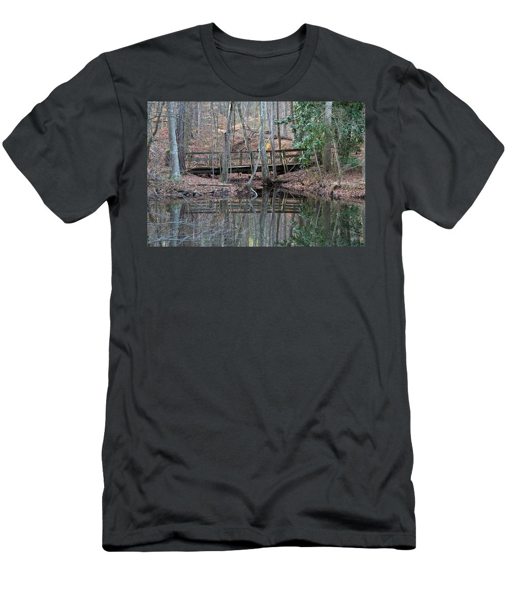 Water Men's T-Shirt (Athletic Fit) featuring the photograph Mirrored Bridge by David Campbell