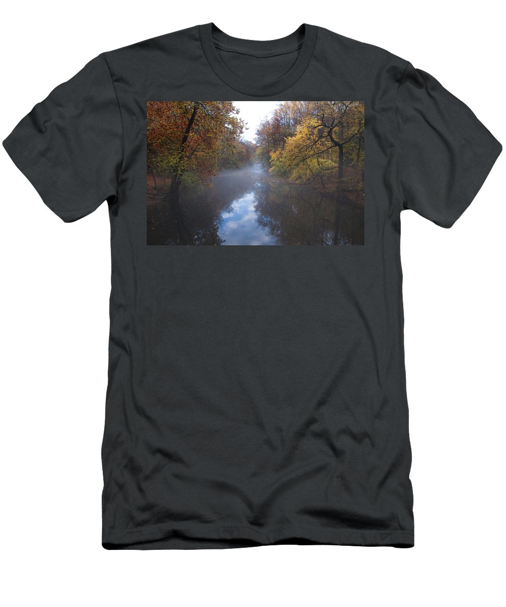 Mist Men's T-Shirt (Athletic Fit) featuring the photograph Mist Along The Wissahickon by Bill Cannon