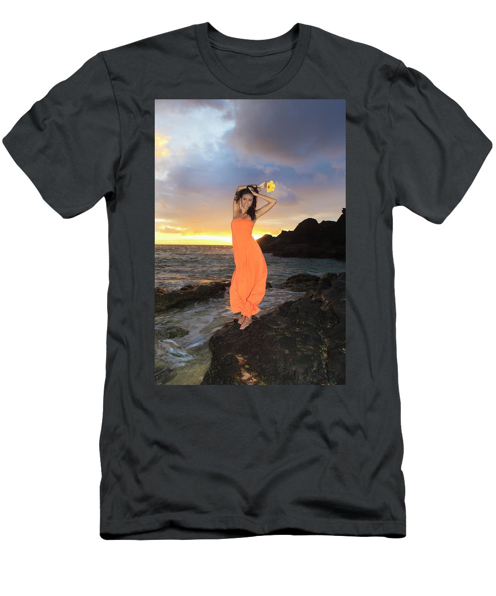 Beach Men's T-Shirt (Athletic Fit) featuring the photograph Model In Orange Dress by Tomas Del Amo - Printscapes
