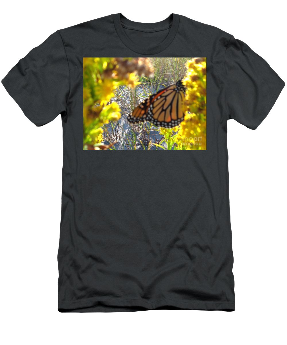 Monarch Men's T-Shirt (Athletic Fit) featuring the photograph Monarch On The Dunes by Nancy Patterson