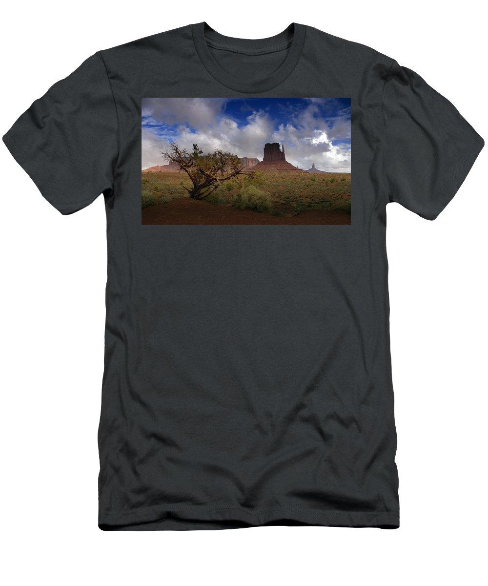 Monument Valley Men's T-Shirt (Athletic Fit) featuring the photograph Monument Valley Vista by Ellen Heaverlo