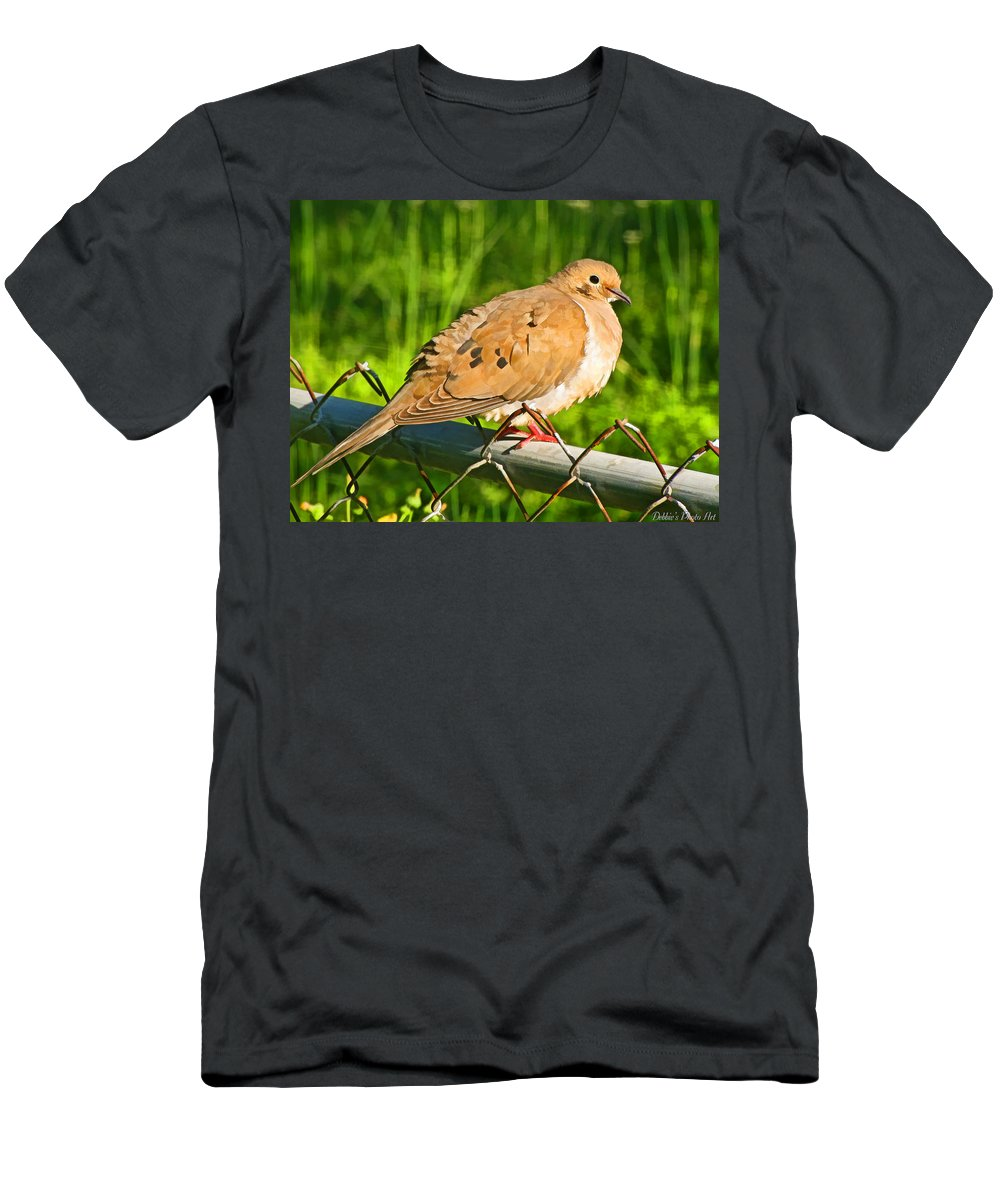 Nature Men's T-Shirt (Athletic Fit) featuring the photograph Morning Dove II Photoart by Debbie Portwood
