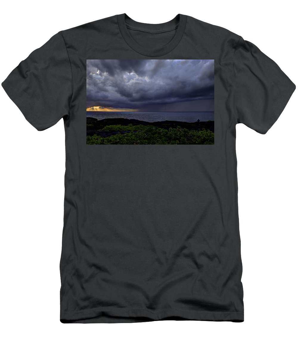 Sunrise Men's T-Shirt (Athletic Fit) featuring the photograph Morning Squall by Mike Herdering