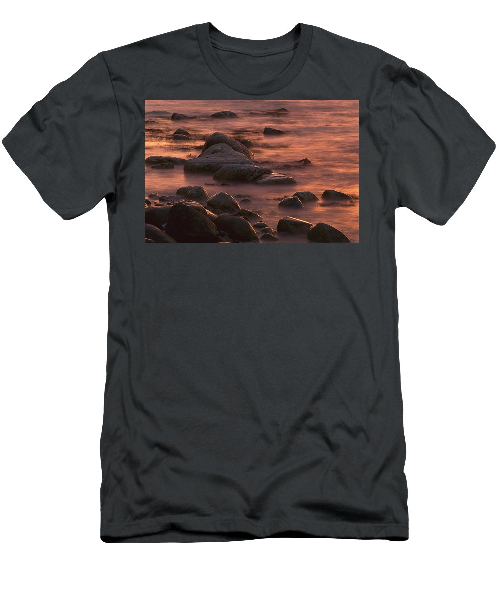 00760114 T-Shirt featuring the photograph Morning Sun Reflecting In Rocky Water by Christian Ziegler