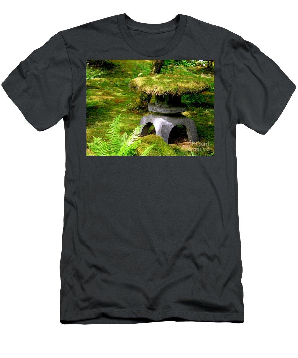 Japanese Garden Lantern Men's T-Shirt (Athletic Fit) featuring the photograph Mossy Japanese Garden Lantern by Carol Groenen