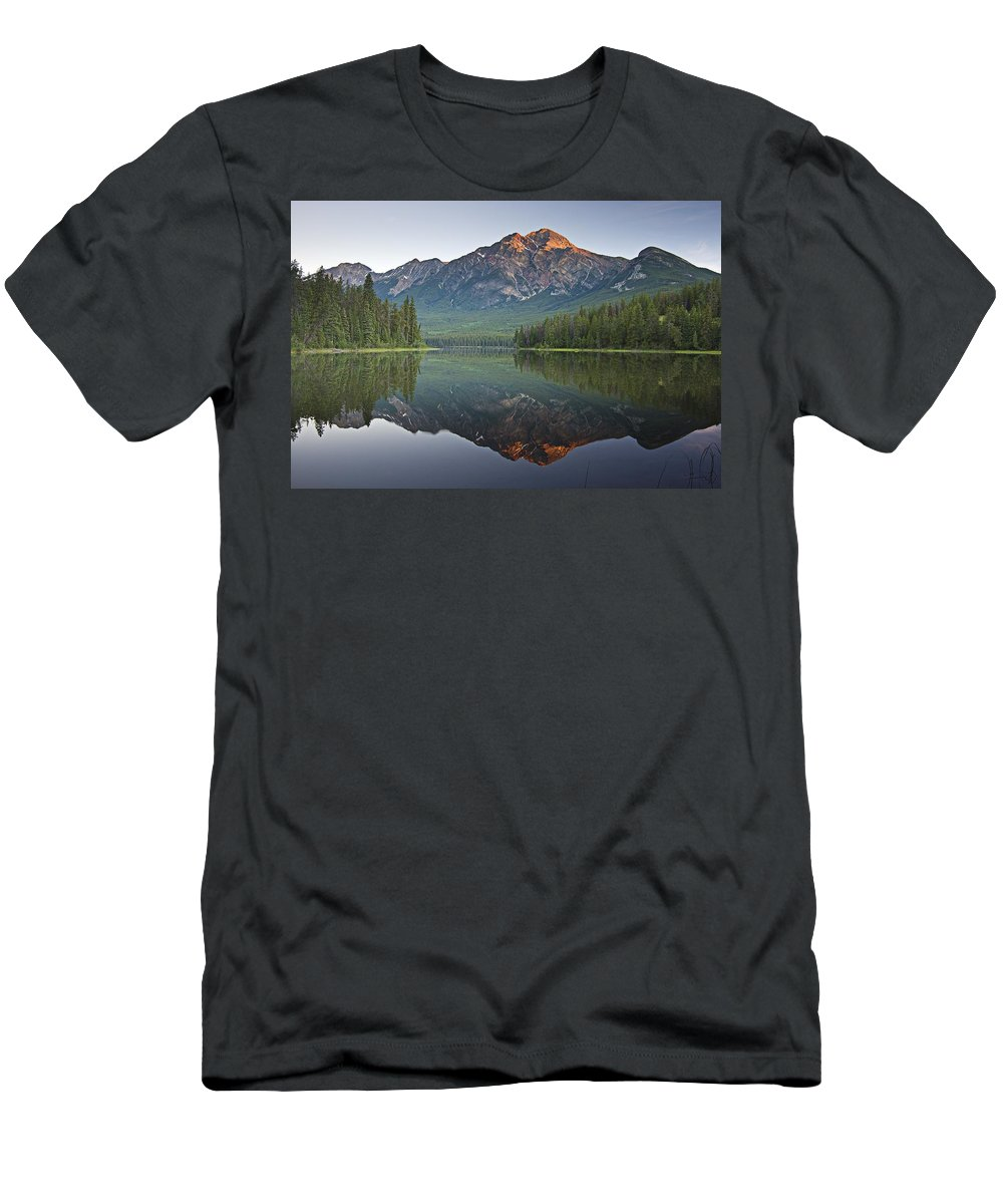 Beauty In Nature Men's T-Shirt (Athletic Fit) featuring the photograph Mountain Reflection, Pyramid Mountain by Robert Brown