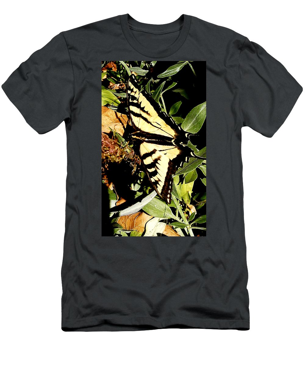 Moveonart! Global Gathering. -- Digital Photo On Daily Walk By Artist Jacob Kane -- Omnetra Men's T-Shirt (Athletic Fit) featuring the digital art Moveonart Yellowbutterflyfriend by Jacob Kanduch