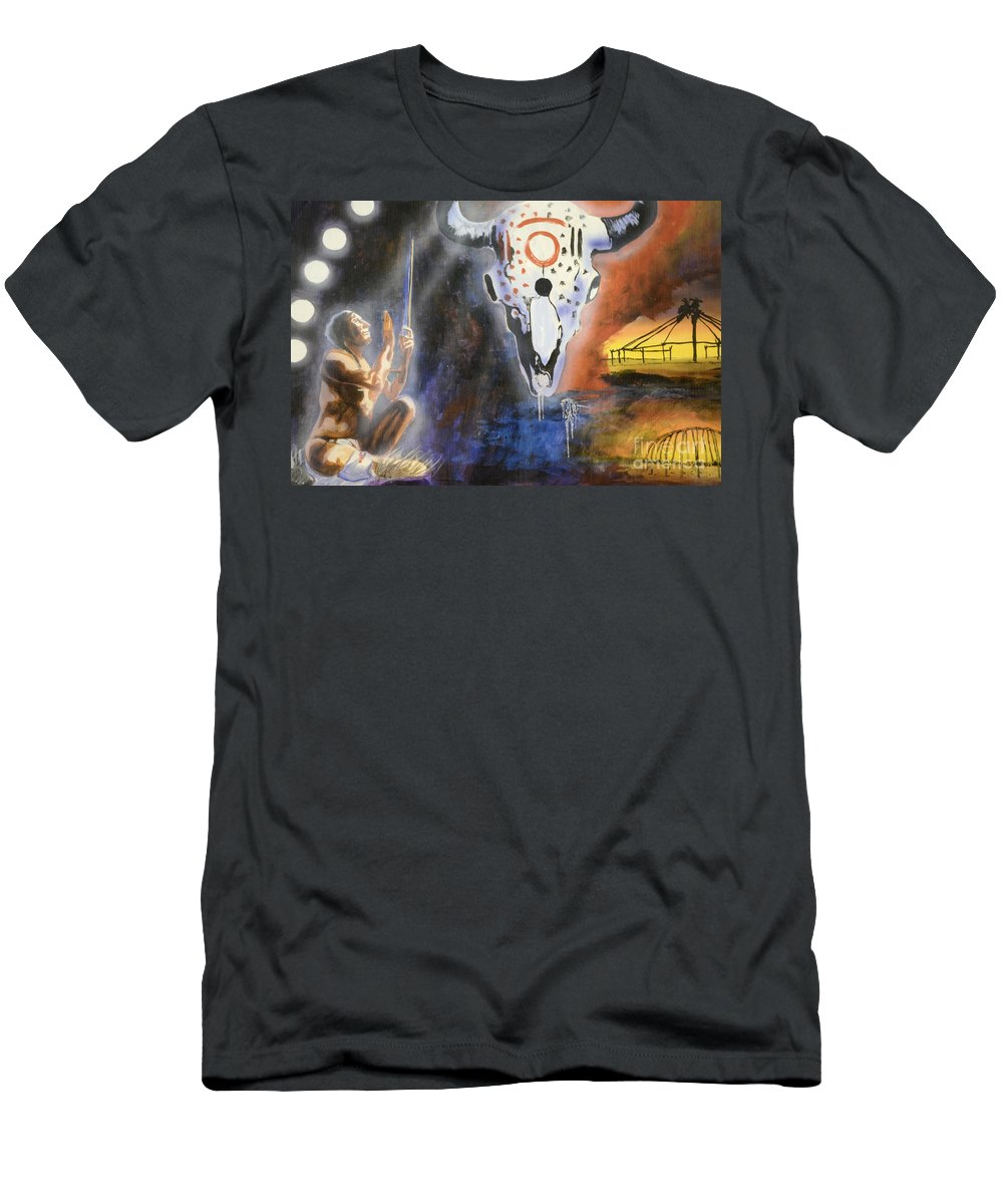 Medicine Hat Men's T-Shirt (Athletic Fit) featuring the photograph Mural Art by Bob Christopher