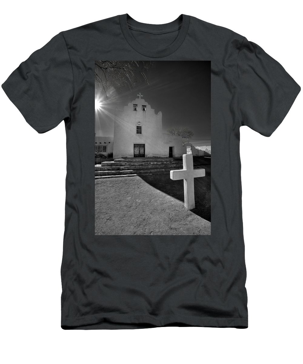 Architecture Men's T-Shirt (Athletic Fit) featuring the photograph New Mexico Church by Peter Tellone