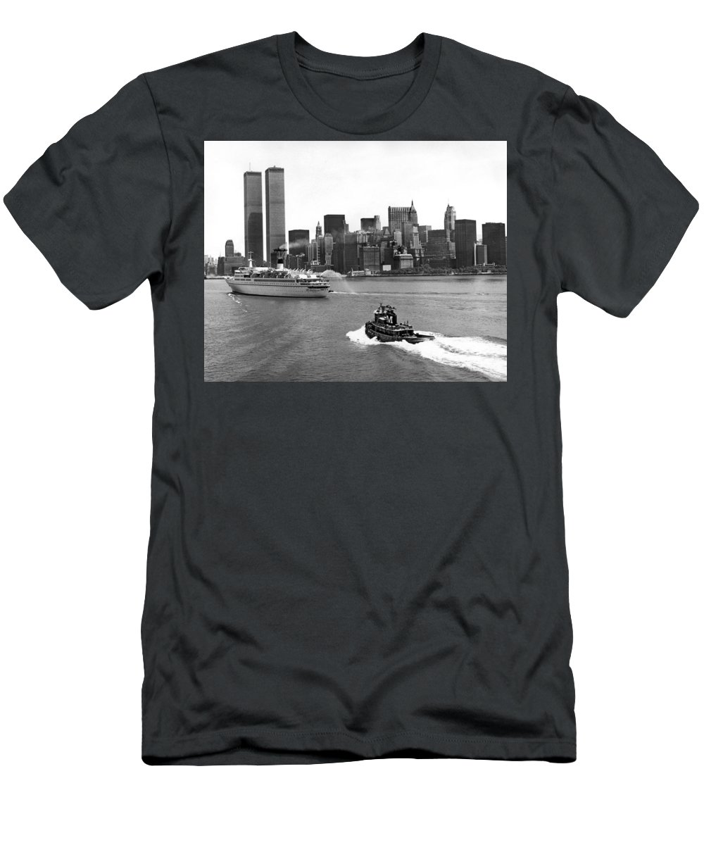 1970's Men's T-Shirt (Athletic Fit) featuring the photograph New York City Harbor by Underwood Archives