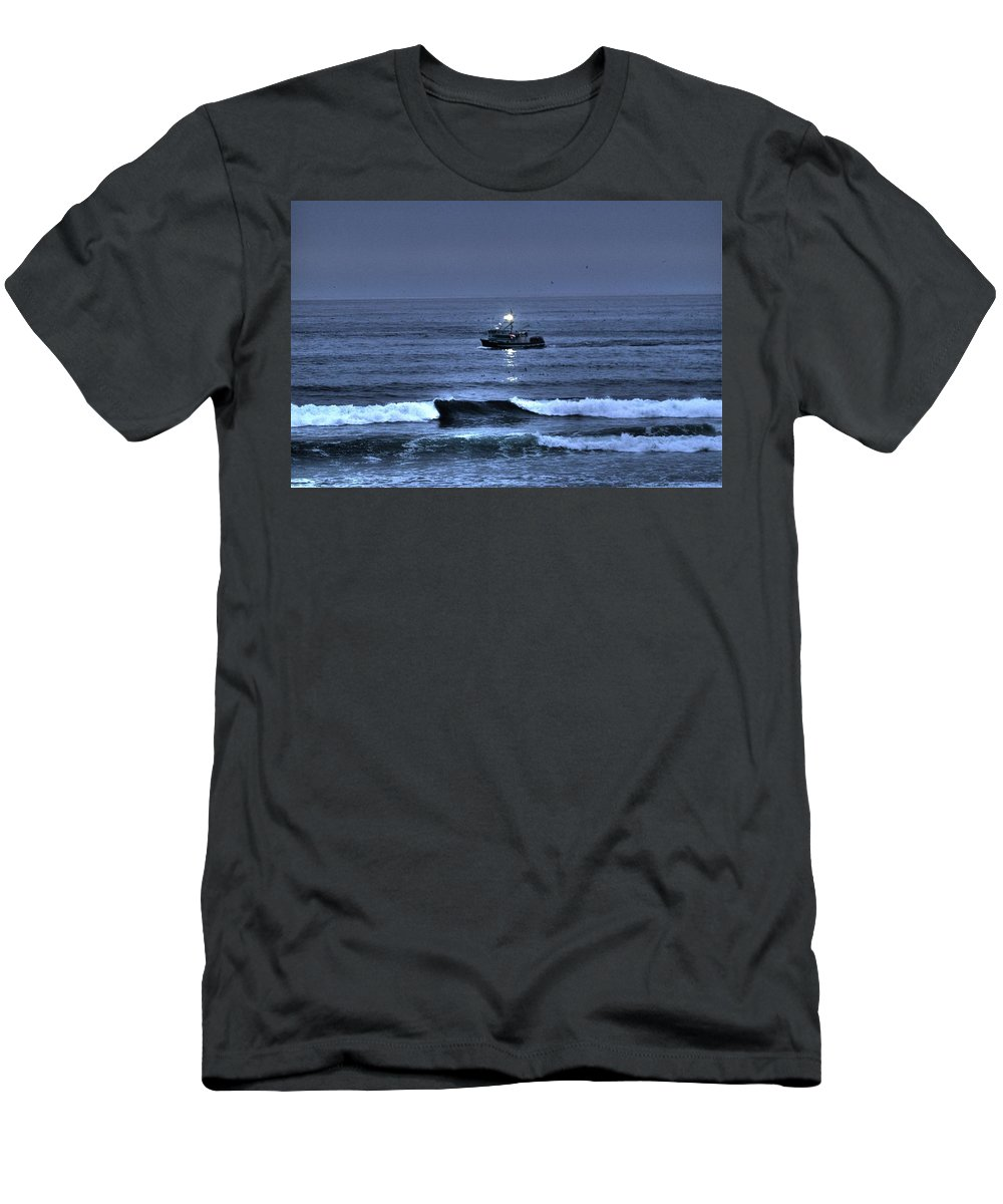 Water Men's T-Shirt (Athletic Fit) featuring the photograph Night Fishing by One Rude Dawg Orcutt