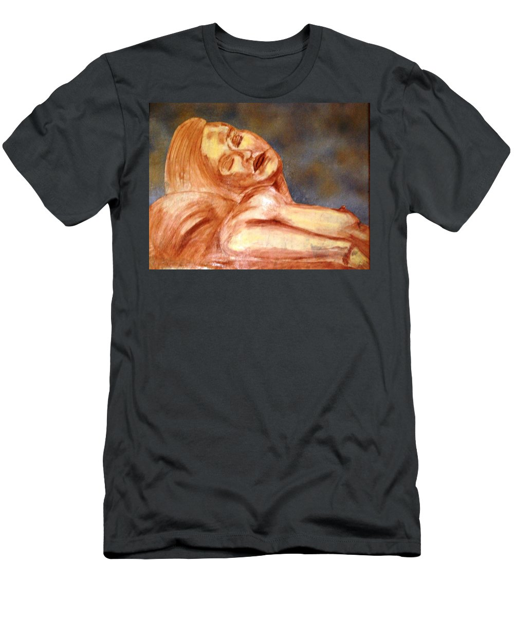 Lady Men's T-Shirt (Athletic Fit) featuring the mixed media Nude Lady In Repose by Angela Murray