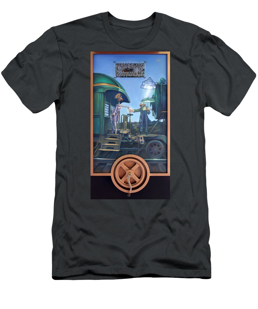 Locomotive Men's T-Shirt (Athletic Fit) featuring the painting Of Thee I Sing The Body Electric by Patrick Anthony Pierson