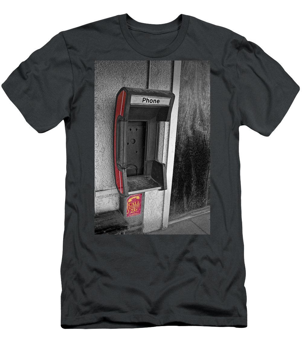 Art Men's T-Shirt (Athletic Fit) featuring the photograph Old Empty Phone Booth by Randall Nyhof