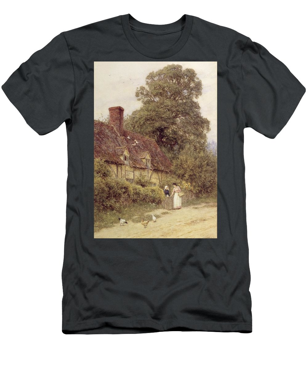 Cottage; Friends; Gate; Rural Scene; Country; Countryside; Path; Sunflowers; Wildflowers; Chickens; Picturesque; Idyllic; Timber Frame; Half-timbered; Female Men's T-Shirt (Athletic Fit) featuring the painting Old Post Office Brook Near Witley Surrey by Helen Allingham