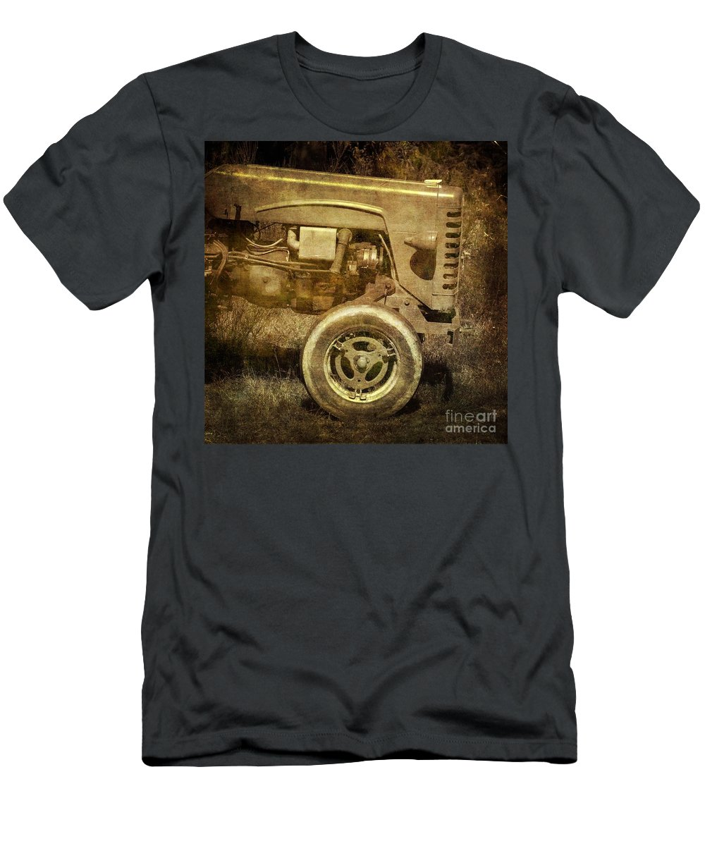 Abandoned Men's T-Shirt (Athletic Fit) featuring the photograph Old Tractor by Bernard Jaubert