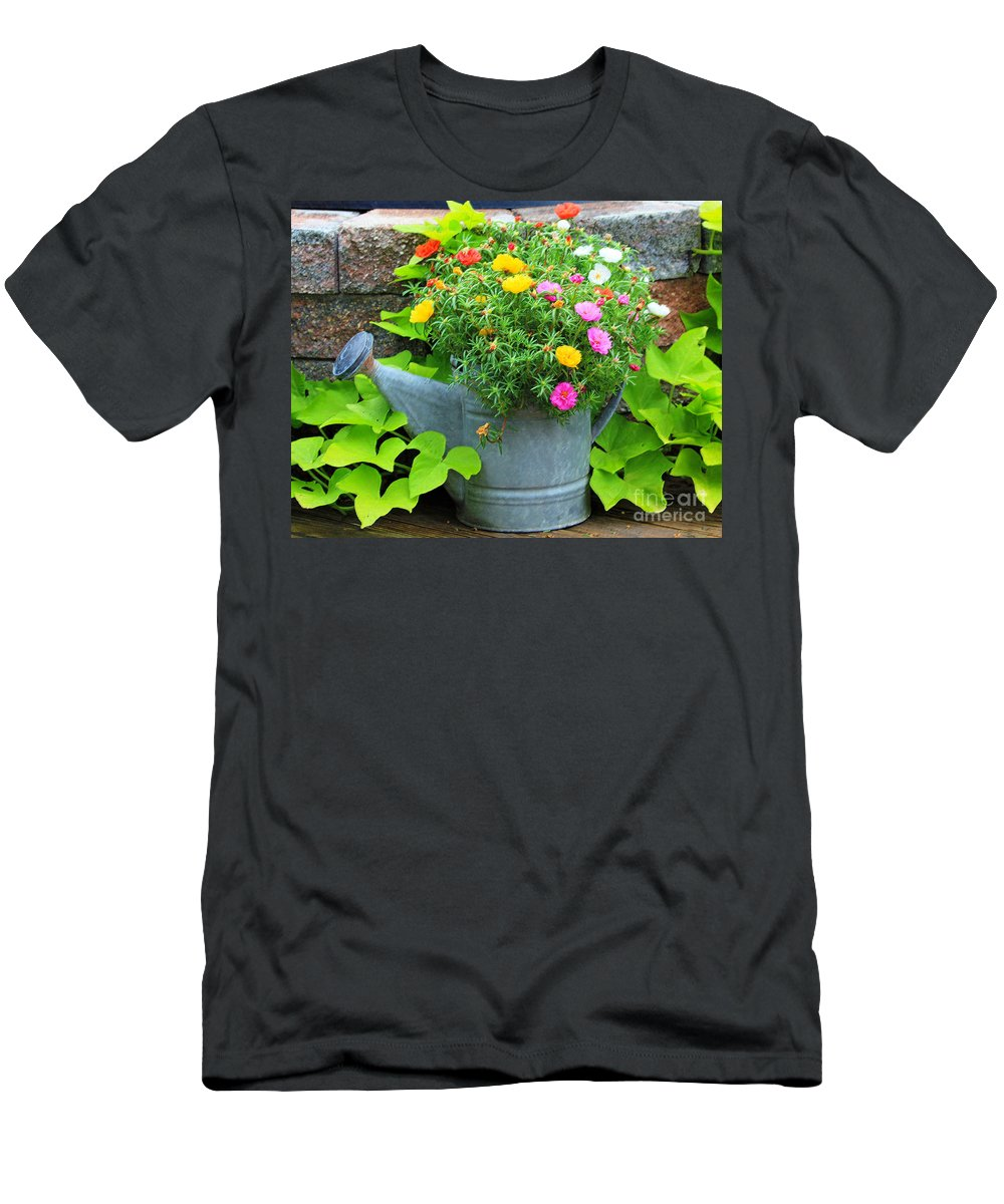 Flowers Men's T-Shirt (Athletic Fit) featuring the photograph Old Watering Can by Jack Schultz